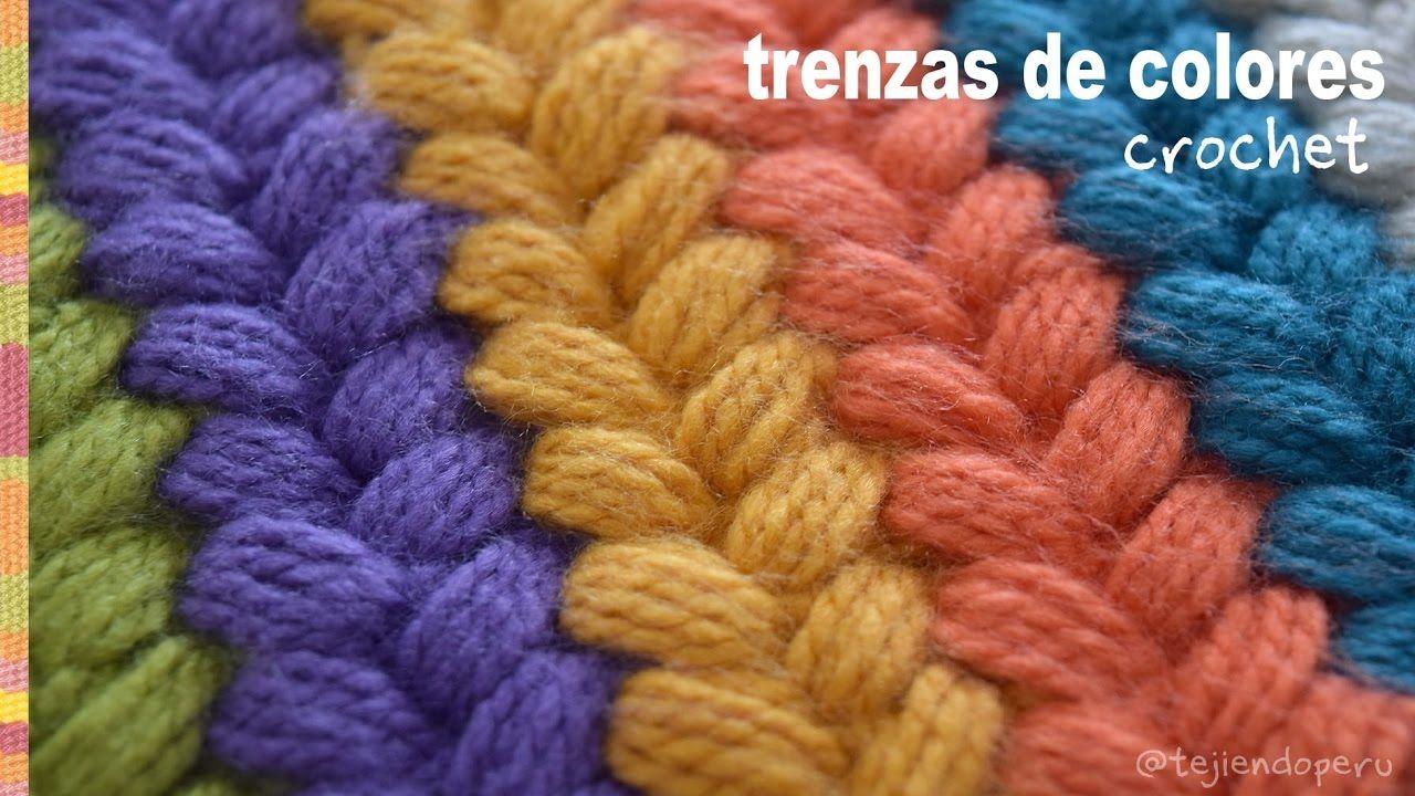Trenzas puff de colores tejidas a crochet / Tejiendo Perú ...