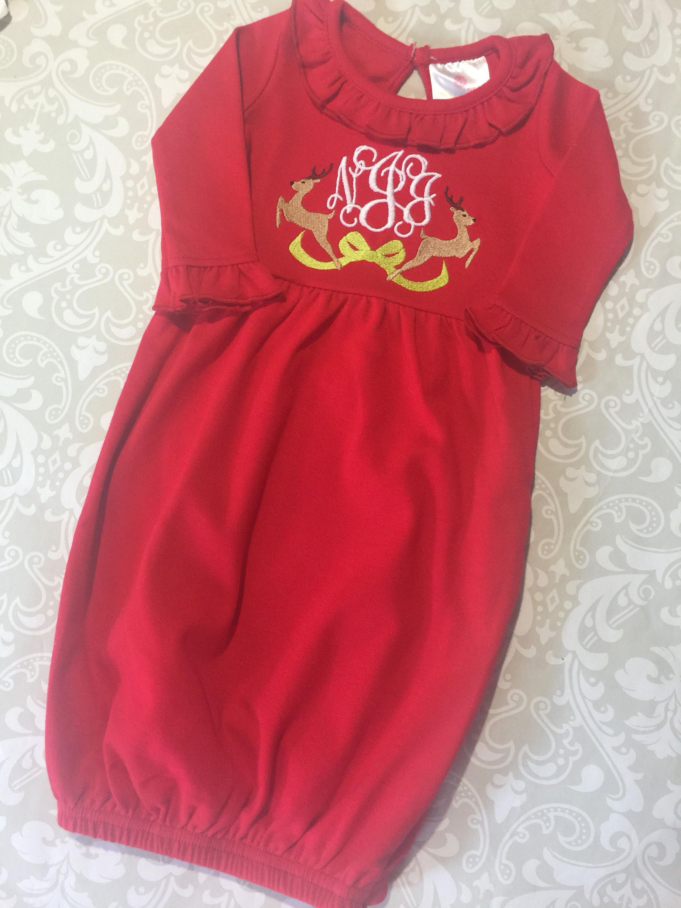 Monogram Christmas red infant gown, Christmas baby gown, reindeer ...