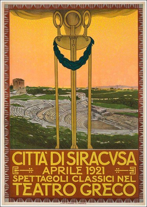 Città di Siracusa - teatro greco - 1921 - (Leopoldo Metlicovitz) -