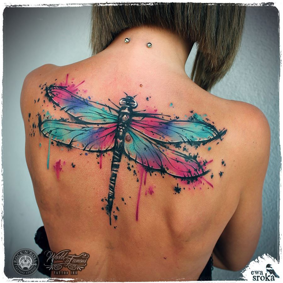 Dragonfly Back Tattoo | Watercolor Dragonfly Tattoo