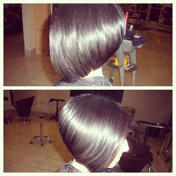goshorter:  Hair of the day 2 #haircut #stackedbob #bob #angledbob #angle #color #brownhair #shorthair #cut #hair #style #fashion #stylist #hairdresser #cosmetologist #mywork #sana #salon #hairoftheday #work #richcolor #aveda #funhaircut #thickhair #straighthair #blowdry - @sana_emma- #webstagram