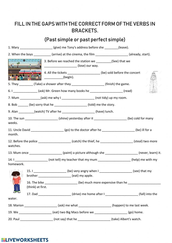 Past Simple Vs Past Perfect Simple Ficha Interactiva Cuadernos Interactivos Fichas Cuadro De Texto