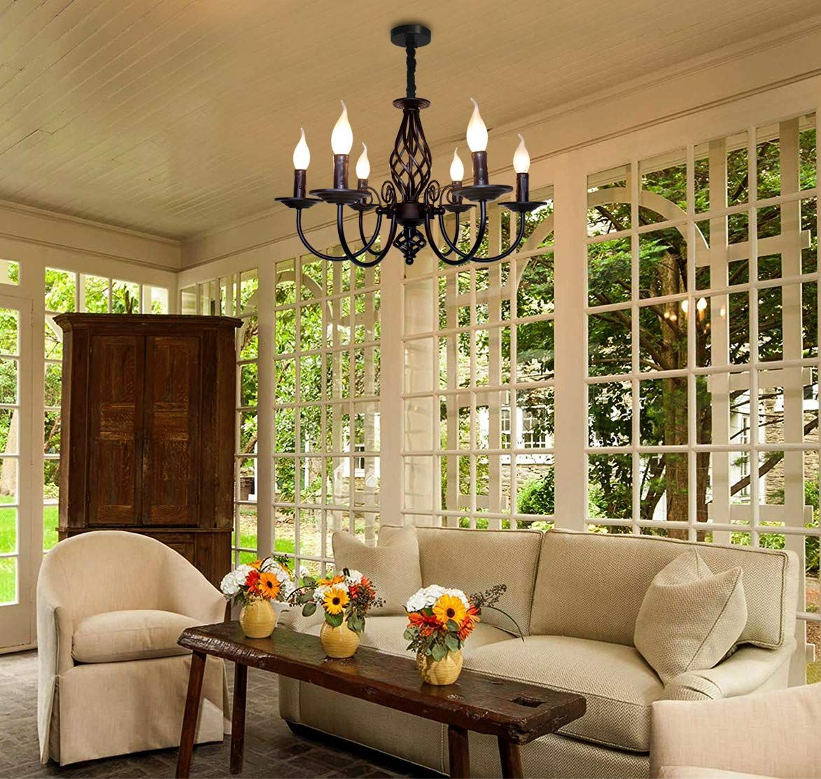 French Country Chandelier,Vintage Candle