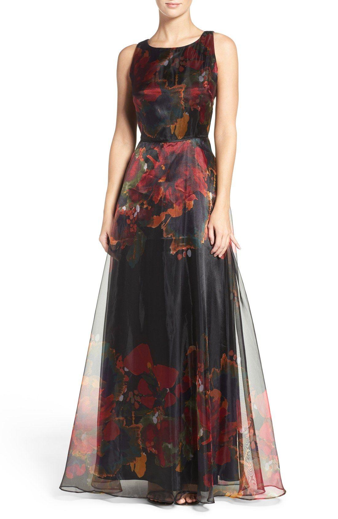 Dark floral print motherofthebride dress  Print Organza Gown