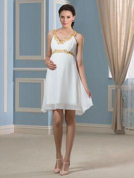 Ericdress Beautiful Beading Short Maternity Dress Pregnant Wedding Dress Short Maternity Wedding Dresses Dresses
