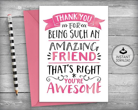Thank You Card  Friendship Card  Thank You Card  Friend Card