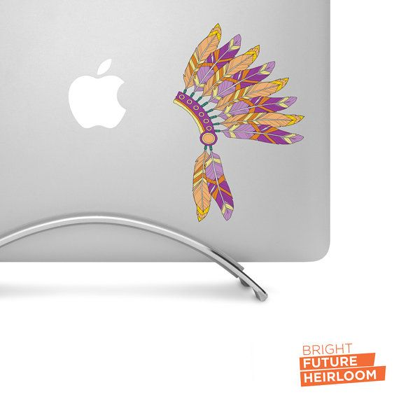 Hand drawn Feather Headdress in Orange Yellow & Lavender - Printed Vinyl Decal - Perfect For laptops tablets cars trucks SUVs and more! by BrightFutureHeirloom