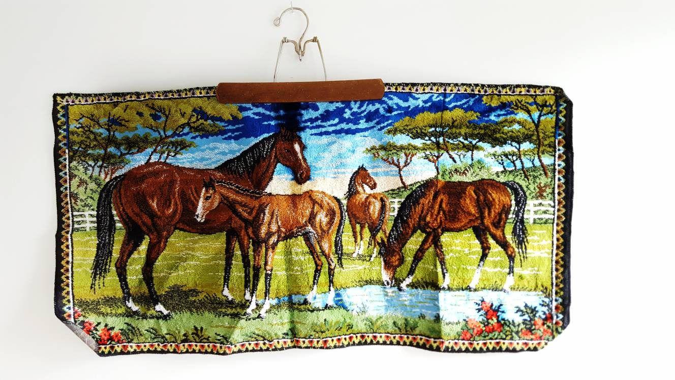Vintage Horse Rug Boho Tapestry Italy Decor