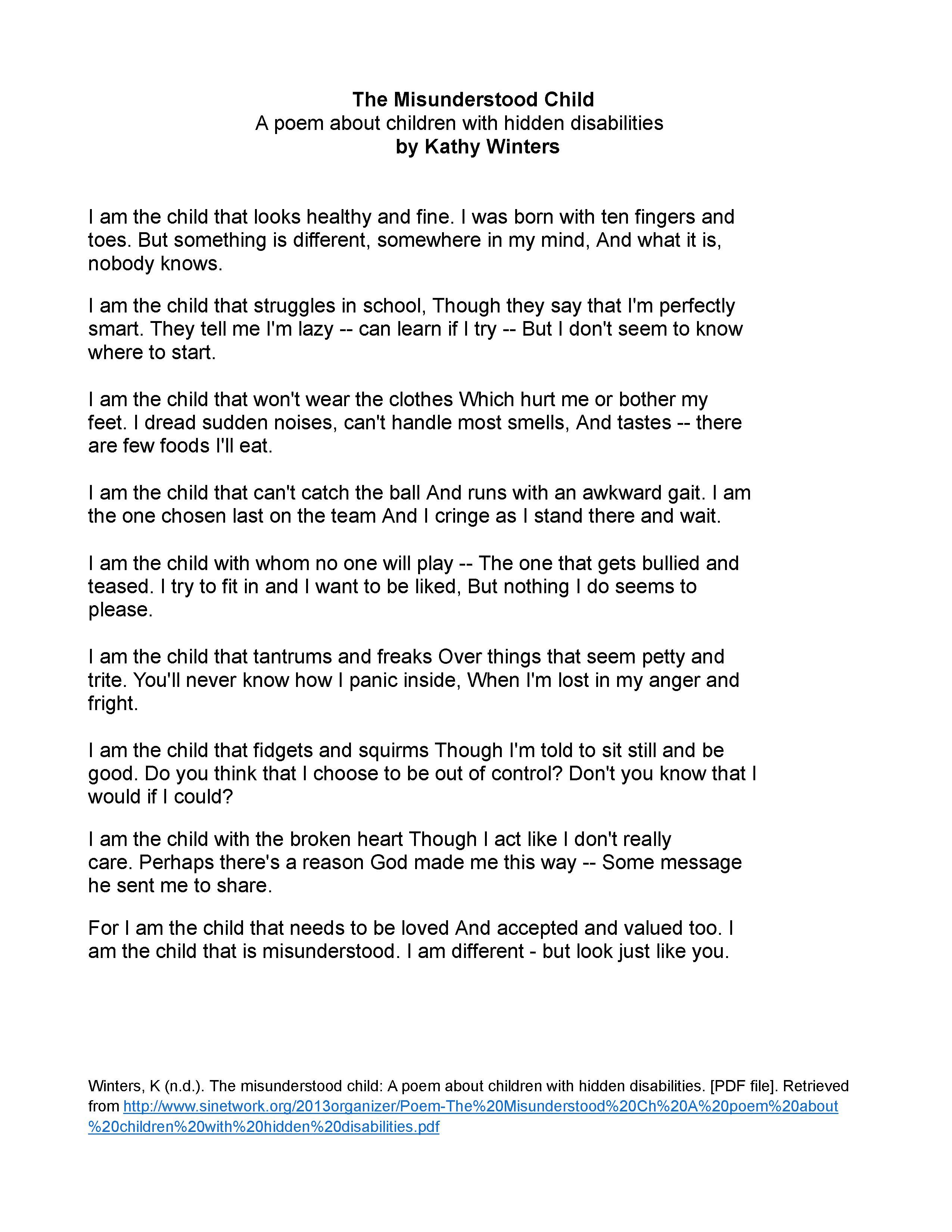 Can You Have Adhd And Still Be Good >> Handout Poem The Misunderstood Child Part 1 Of 2 Quotes