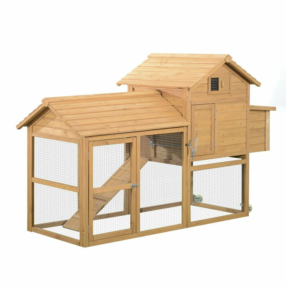 """PawHut 83"""" Wooden Portable Backyard Chicken Coop With ..."""