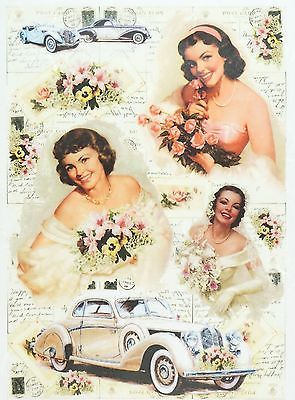Rice Paper for Decoupage Decopatch Scrapbook Craft Sheet Vintage Wedding Car