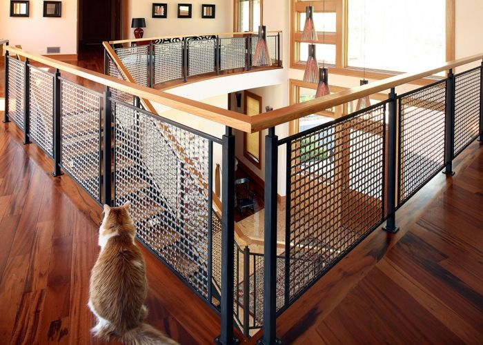 Altamira Residence Woven Wire Mesh Railings Staircase Infill | Wire Mesh Stair Railing | Exterior Perforated Metal | Galvanized Mesh | Staircase | Modern | Mesh Balustrade