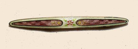 Art Deco Edwardian Sterling Silver Enamel Guilloche Pink Cloisonne Bar Pin Brooch