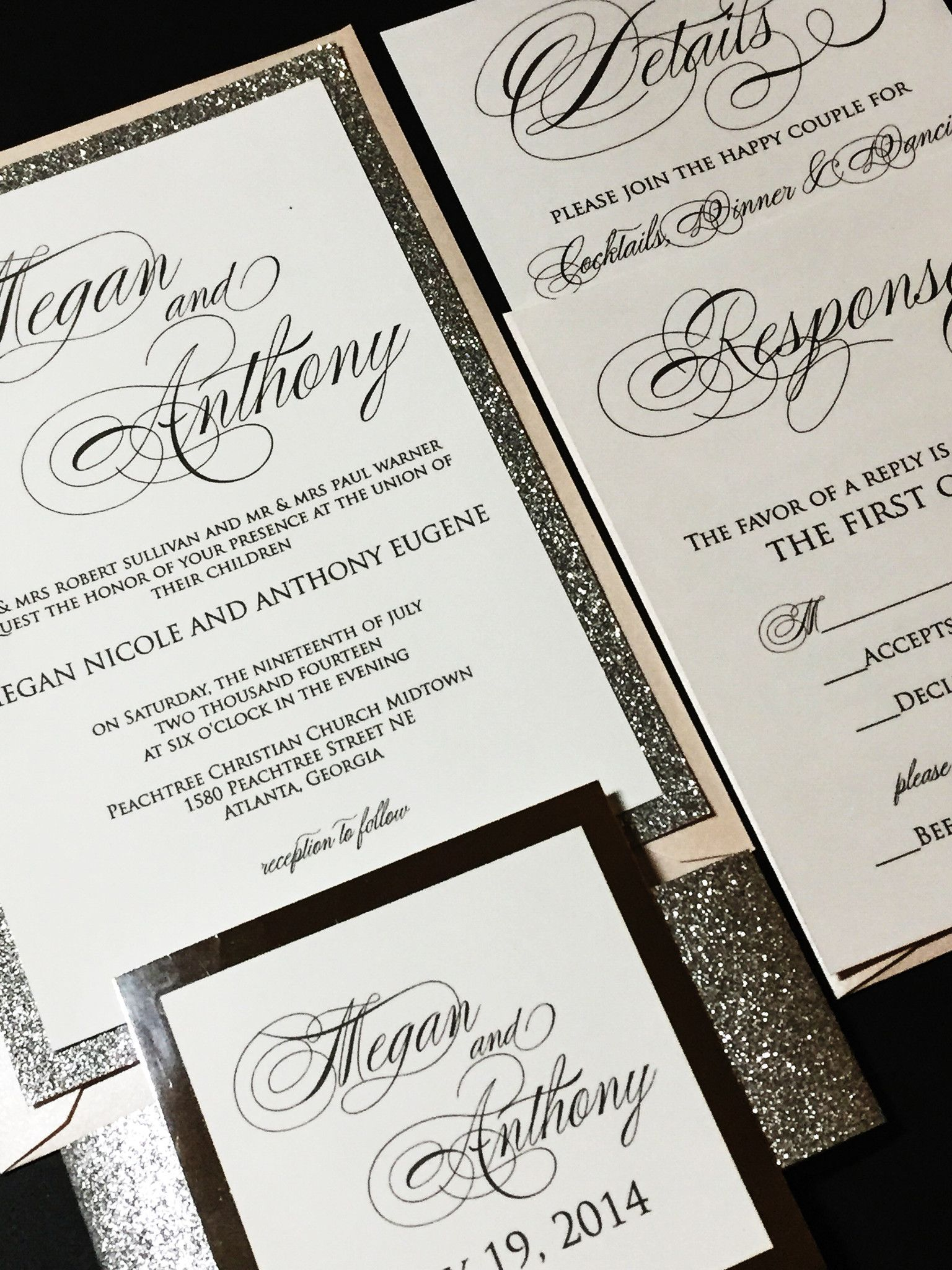 Silver Glitter Wedding Invitation, Elegant Wedding Invitation ...