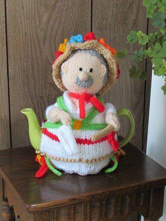 The Morris dancer tea cosy depicts a traditional folk dancer dressed as a Morris man. https://www.crazypatterns.net/en/items/37256/morris-dancer-tea-cosy