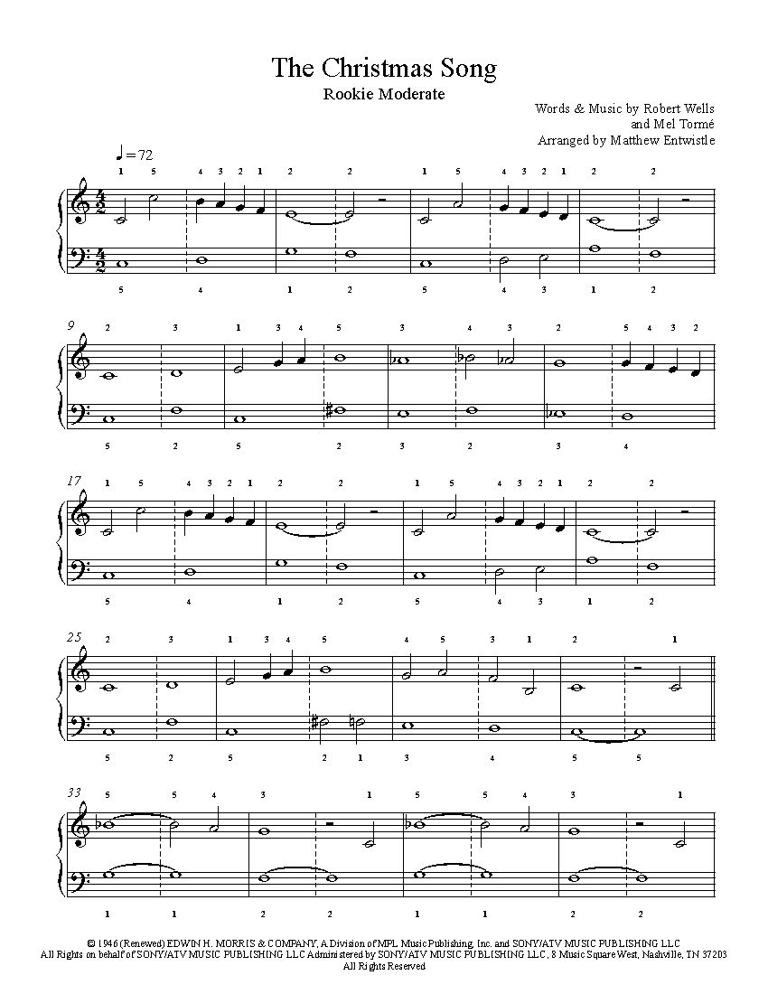 The Christmas Song by Nat King Cole Piano Sheet Music | Rookie Level | Piano sheet music, Sheet ...