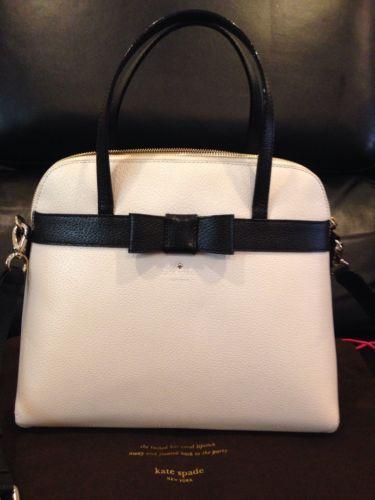 c7fb289f6082 Authentic Kate Spade Kirk Park Medium Bow Maise Handbag Snow White Black 348  | eBay