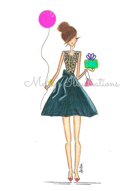 Happy Birthday Girl Illustration ~ Birthday girl by melsys on etsy  fashion illustrations pinterest birthdays happy