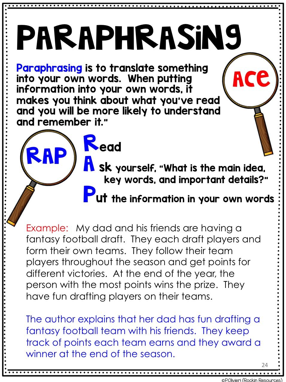 Resource For Teacher That Rock Rockin Text Evidence Paraphrasing Lesson Activities Example Of Plagiarism