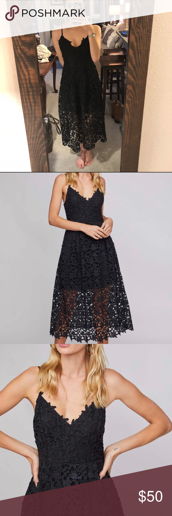 Photo of Astr black lace midi dress Black lace dress by astr. Only worn once for a formal…