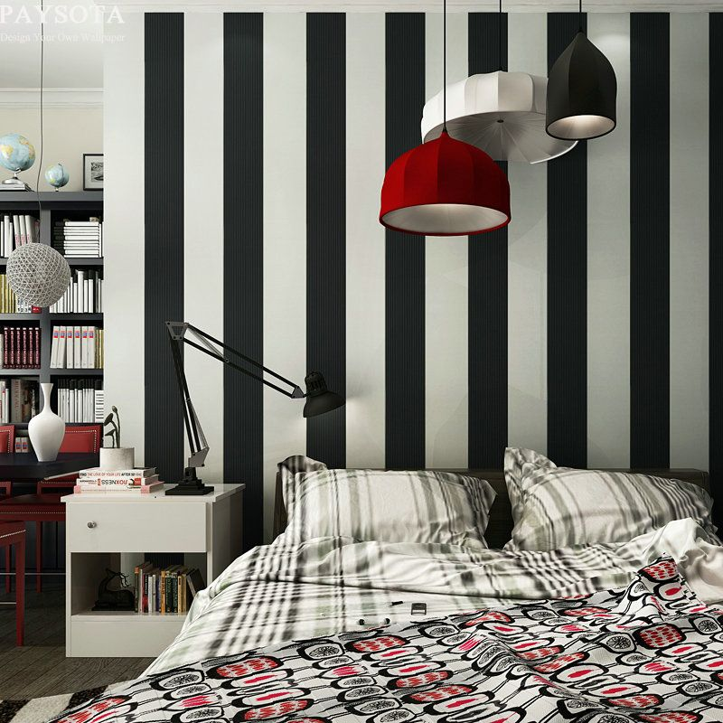 PAYSOTA 10M Roll black and white wide stripe wallpaper