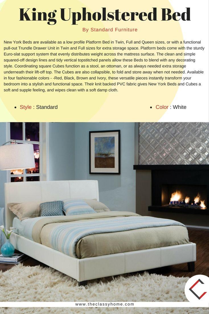 Standard Furniture New York White King Upholstered Bed | Camas y ...