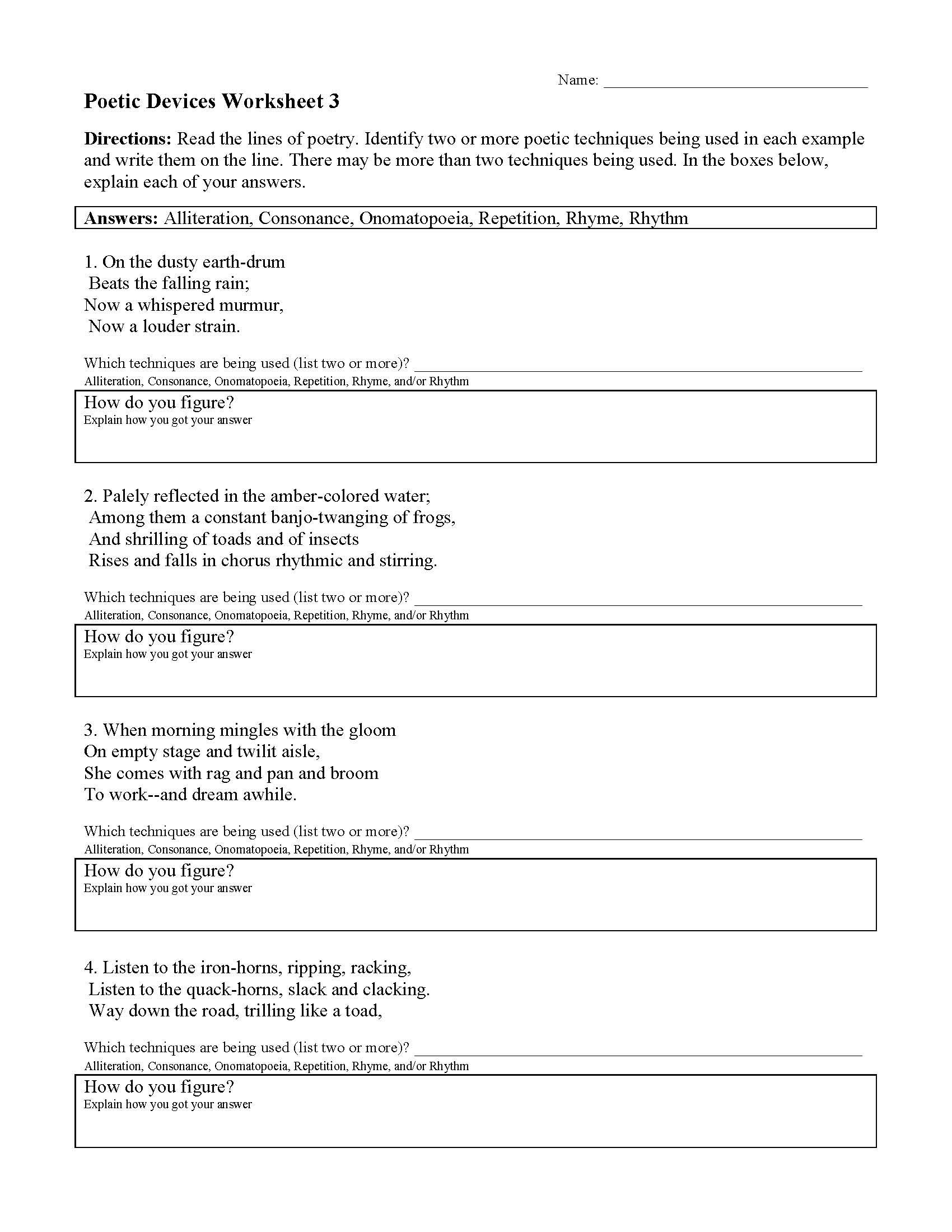 This Is A Preview Image Of The Poetic Devices Worksheet 3 Figurative Language Worksheet Language Worksheets Literal Equations