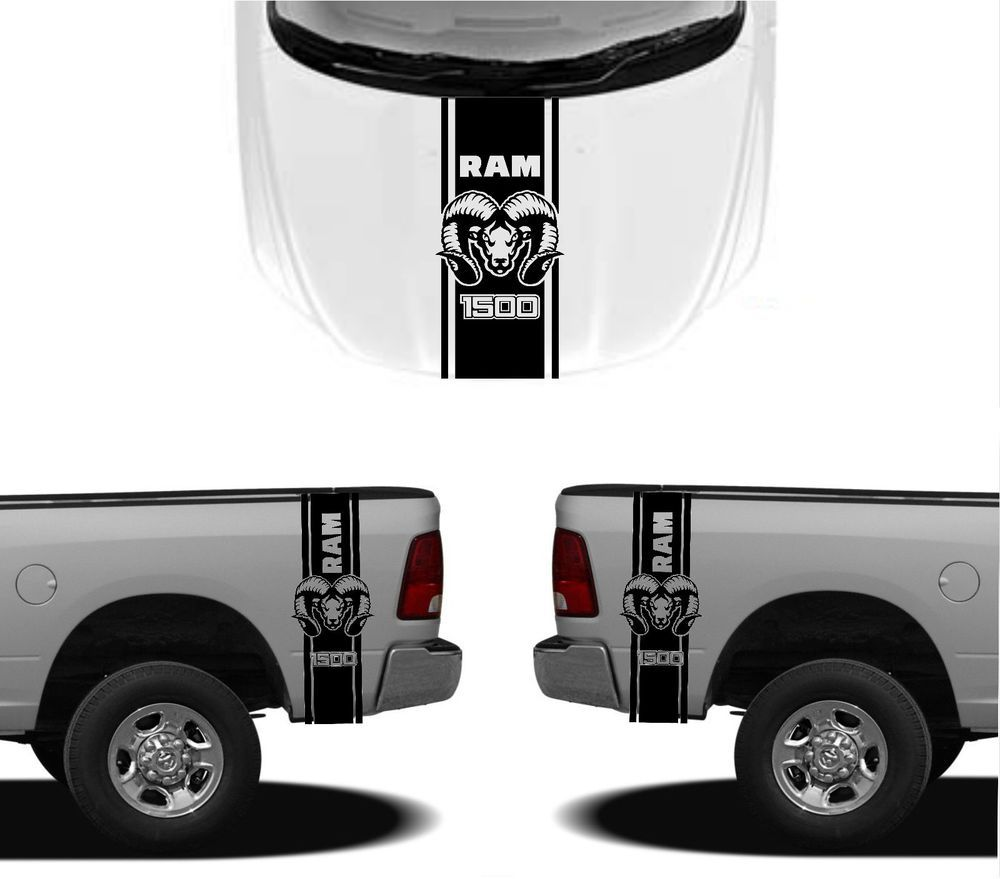 3x dodge hood fender decals ram hemi 1500 2500 graphics vinyl body stickers 2 decals