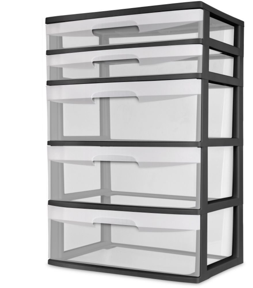 Sterilite 5 Drawer Wide Tower Black And White Clear Plastic