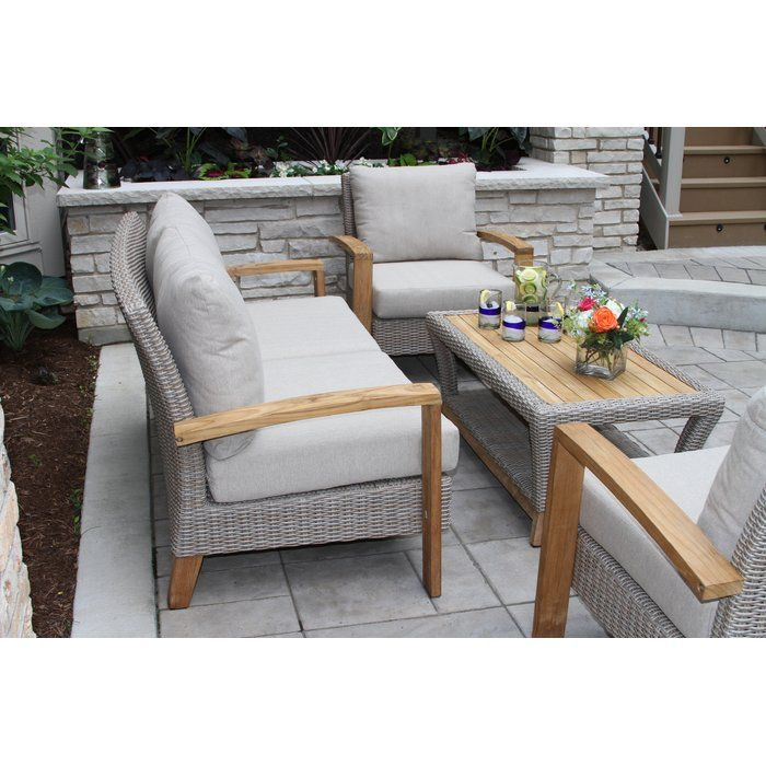 Gentil Dillard Teak And Wicker 4 Piece Deep Seating Group With Cushion