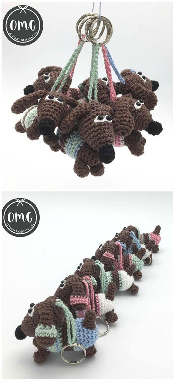 Amigurumi Dachshund Dog Keychain Crochet Free Pattern - Crochet & Knitting