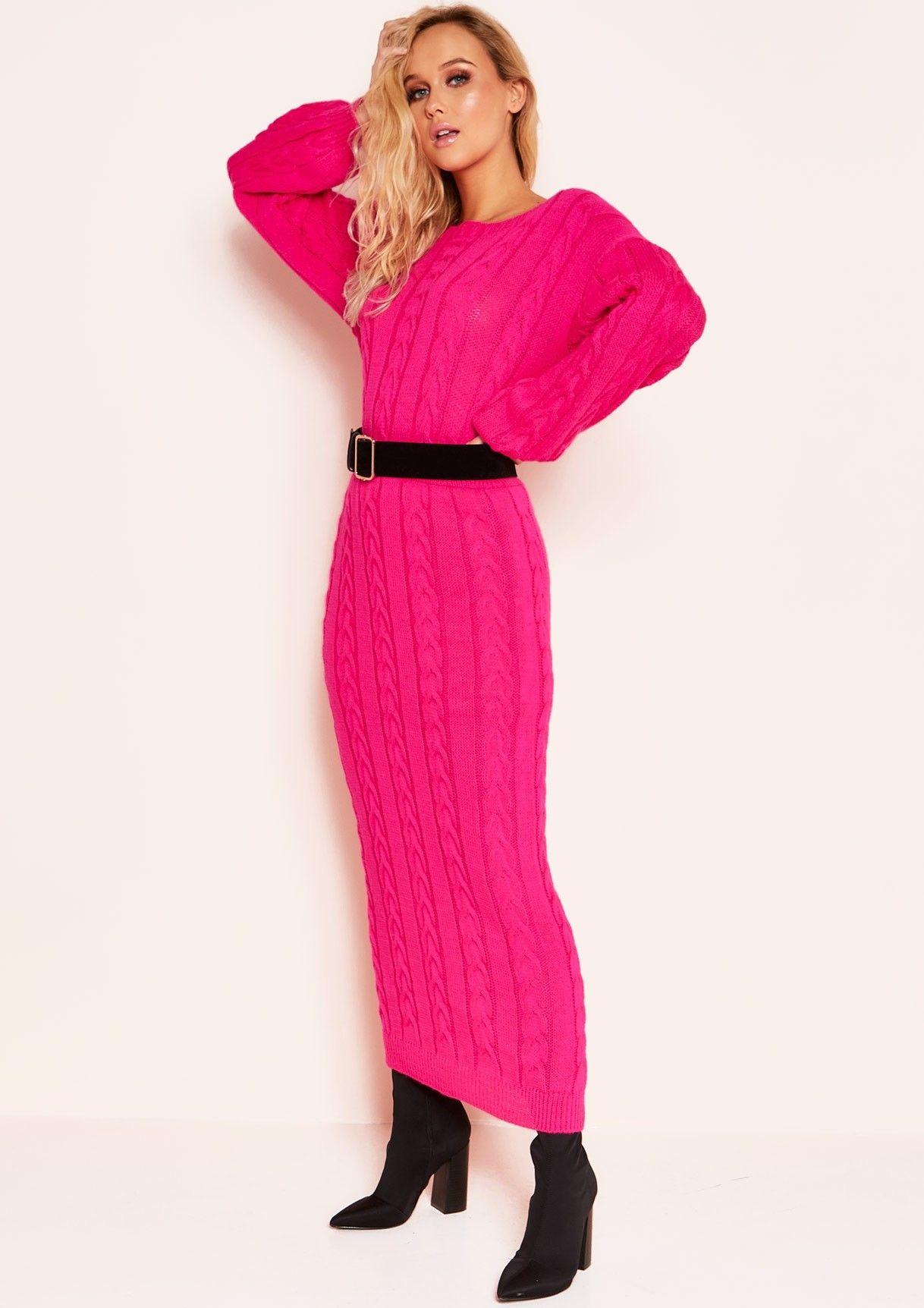Missyempire - Noara Neon Pink Knit Midi Co-ord Set 584099b0a