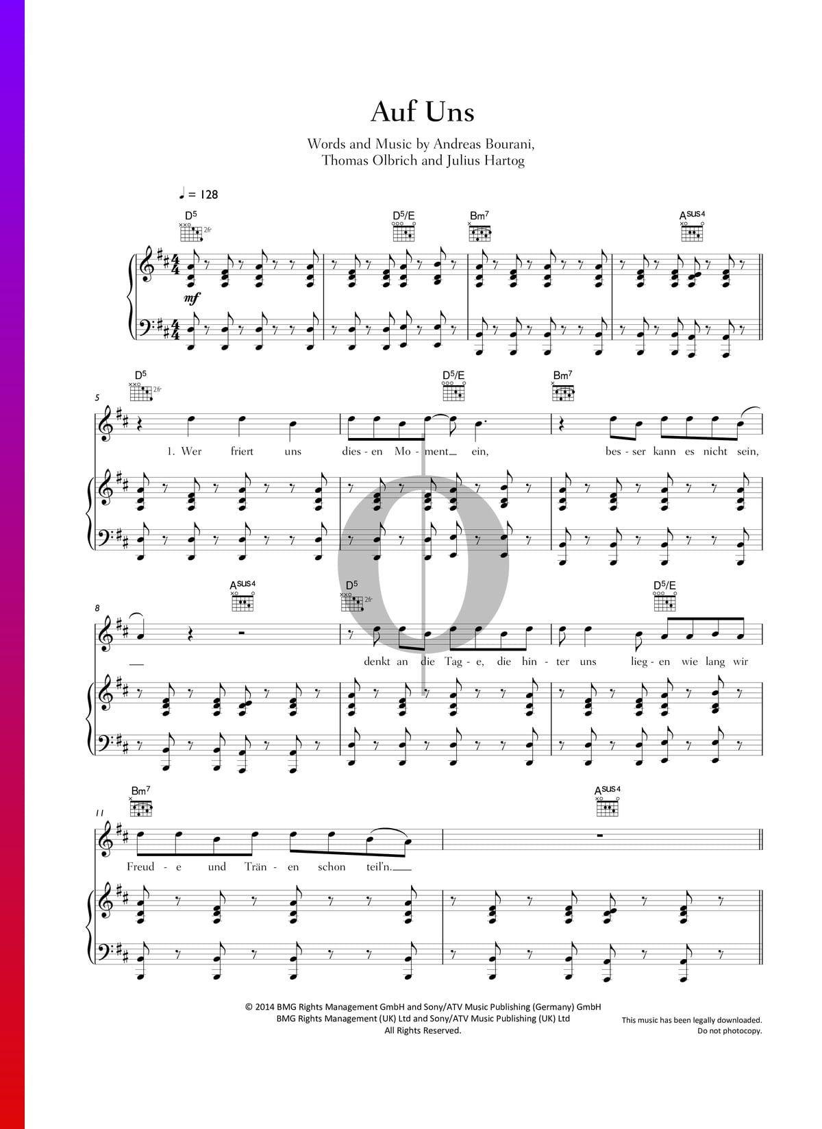 Auf uns von Andreas Bourani – Klaviernoten – R.E. St