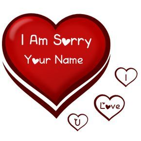 Write Name On Sorry Heart Card Image Heart Cards Sorry Cards