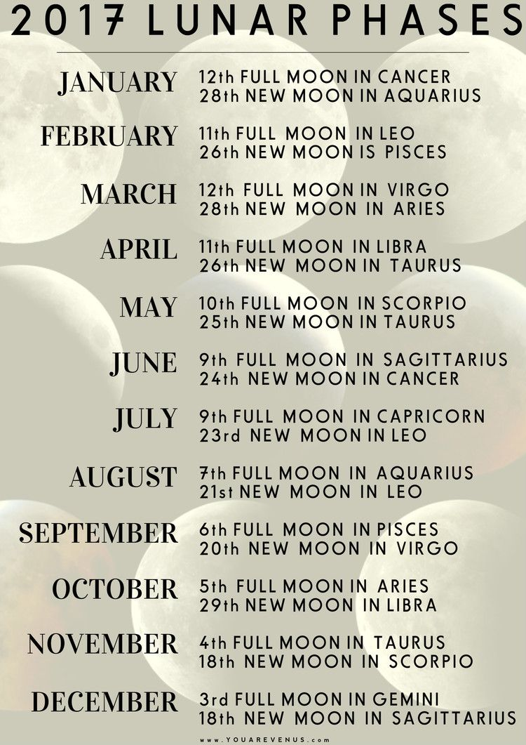 2017 lunar moon phases with astrological influence to get a to get a personal insight for each moon phase see what house the moons astrology sign falls into on your natal chart geenschuldenfo Choice Image