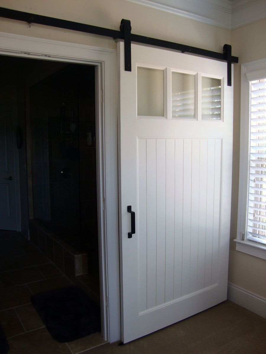 Delicieux Custom Interior Barn Door   Gloss White Finish, Classic Black Barn Door  Hardware   Made Just For Debi In Atlanta, GA.