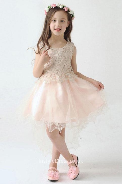Pearl pink lace tulle sleeveless short knee length princess flower pearl pink lace tulle sleeveless short knee length princess flower girl dress mightylinksfo