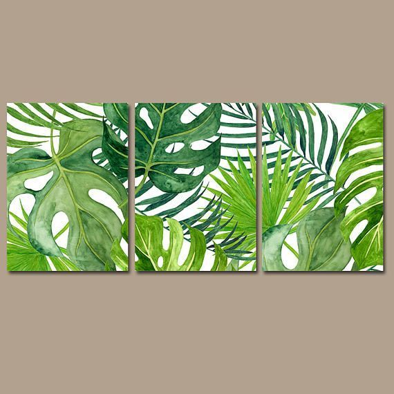 BANANA LEAF Wall Art, Tropical Bedroom Wall Decor Canvas or Prints Palm Watercolor, Floral Green Bathroom Decor, Home Decor, Set of 3 - -#Genel