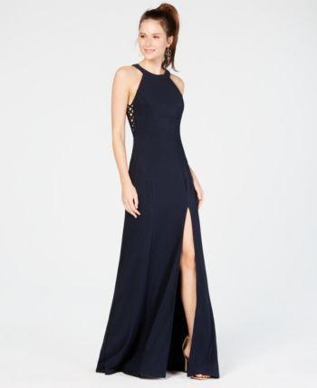 55794cc7e7d Emerald Sundae Juniors  Lace-Up Slit Gown - Blue XXS