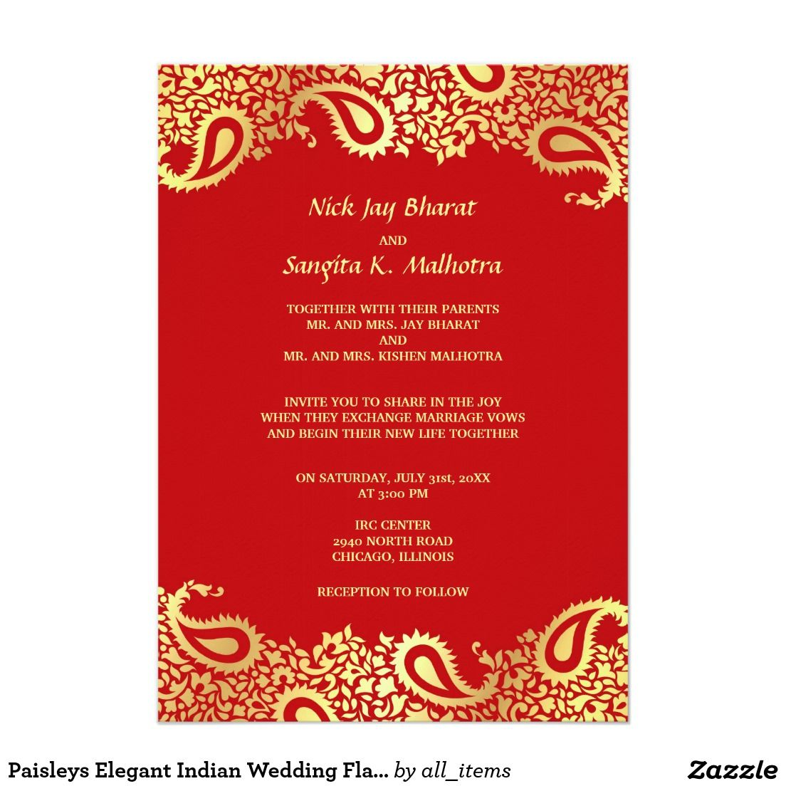 Single Page Email Wedding Invitation DIY Template - Indian Design 2 ...
