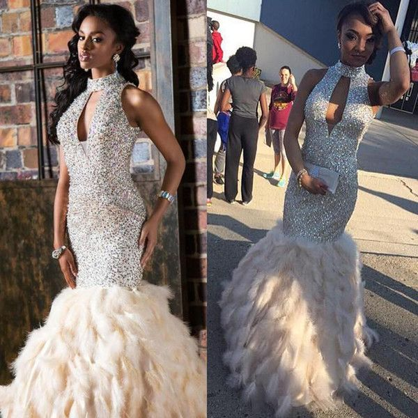 825062cd718 Cheap Feather Mermaid Prom Dresses 2017 Sparkly Rhinestone Sequin High Neck  Long Prom Evening Dress Formal Gown Floor Length As Low As  216.09