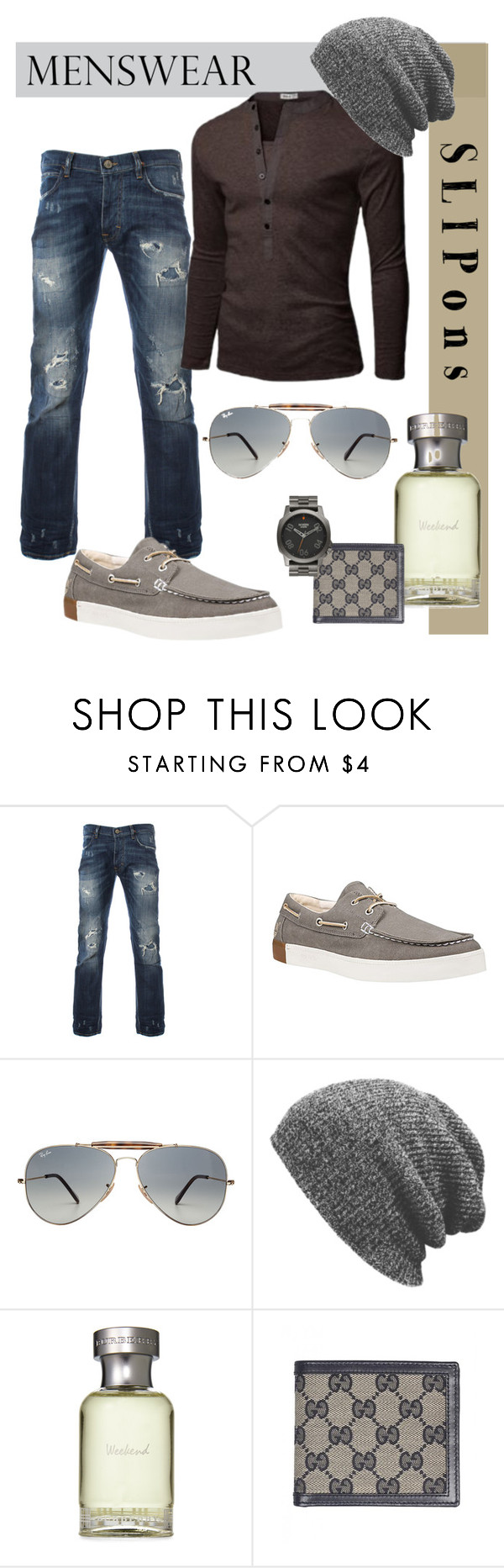 """""""Boat Shoes"""" by tinky3buggs ❤ liked on Polyvore featuring Timberland, LE3NO, Ray-Ban, Burberry, Gucci, Nixon, men's fashion, menswear and slipons"""