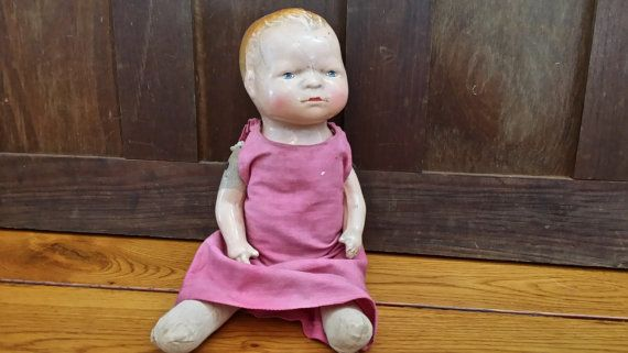 Vintage Doll with Straw Stuffed Body and Composition by maliasmark
