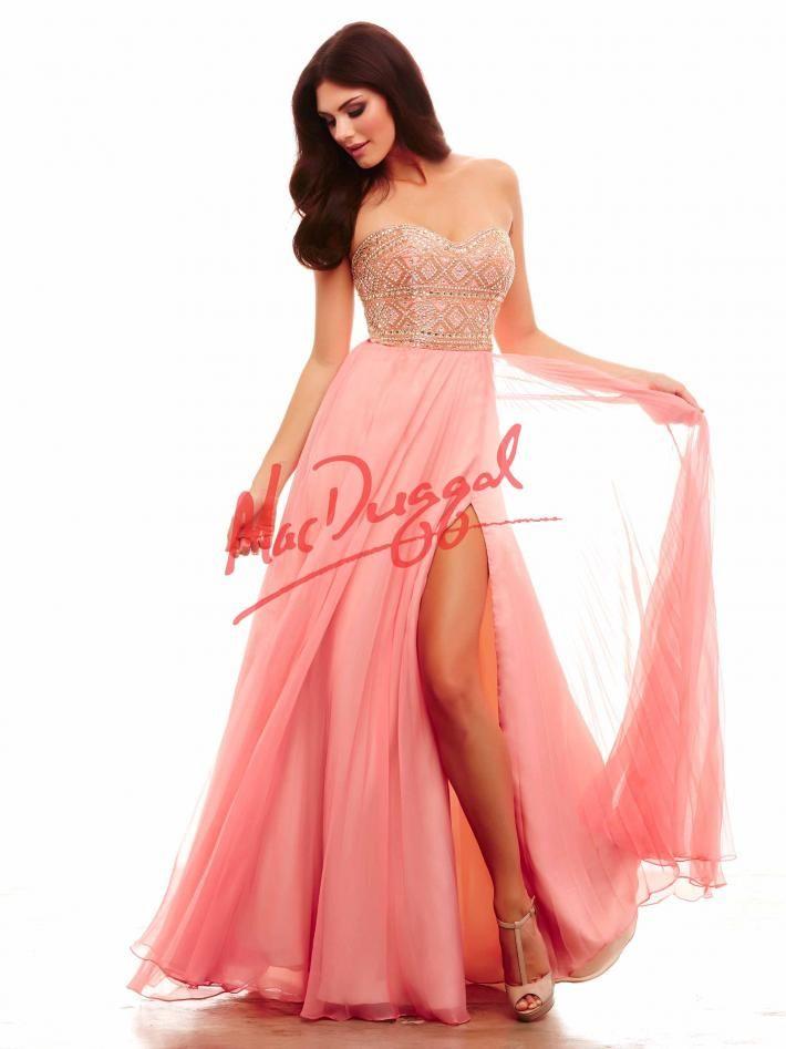 Coral and Gold Prom Dress | Tribal | Mac Duggal 48277A | PrAHM ...