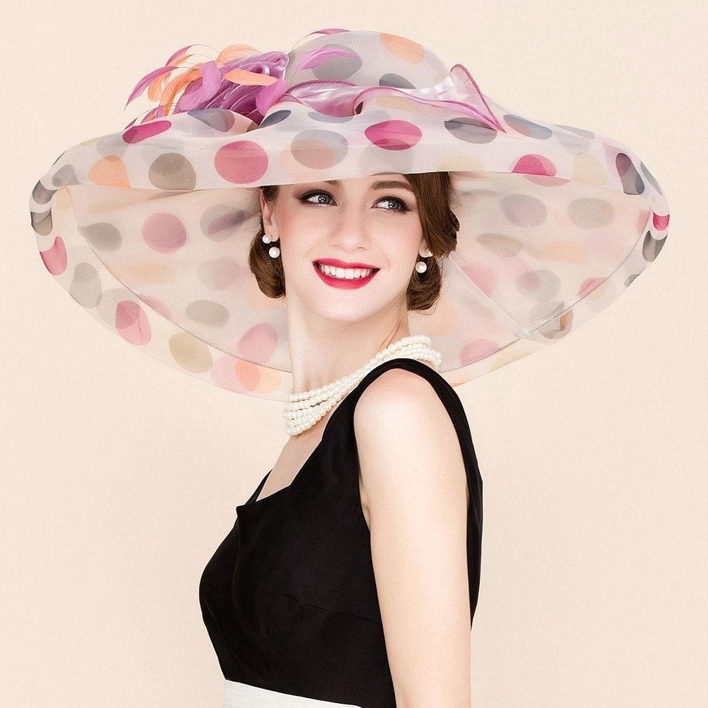 RoseGal -  Rosewholesale Handmade Flower Big Polka Dot Pattern Wedding  Banquet Party Church Hat 077c2383b1d