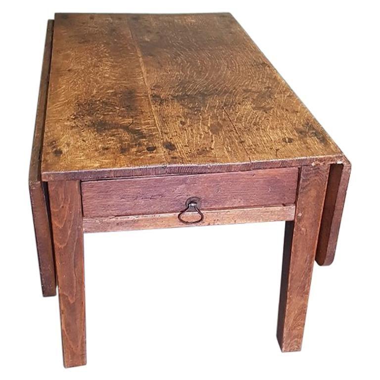 19th Century Dutch Oak Drop Leaf Rural Coffee Or Sofa Table Wood Sofa Table Sofa Table