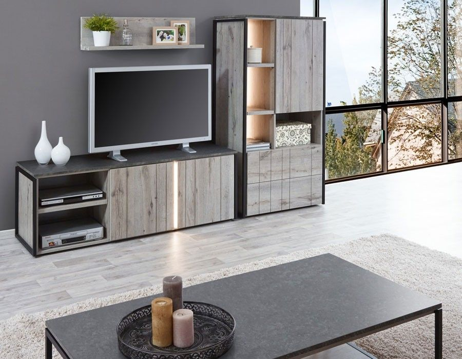 meuble tv industriel couleur ch ne gris et marbre nera 2 id es maison. Black Bedroom Furniture Sets. Home Design Ideas