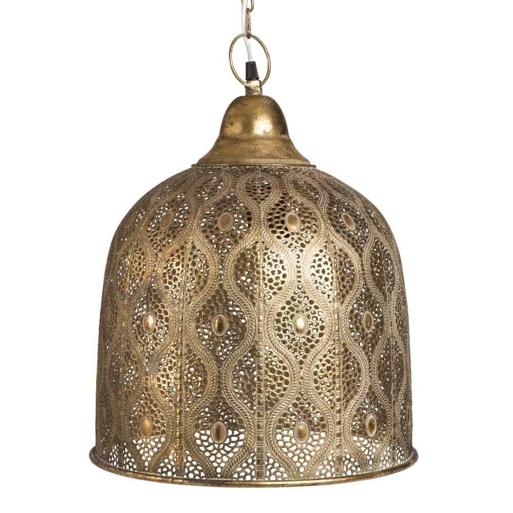 Lampara De Techo De Metal Dorado Con Motivos Decorativos Maisons Du Monde Hangeleuchte Hange Lampe Lampe