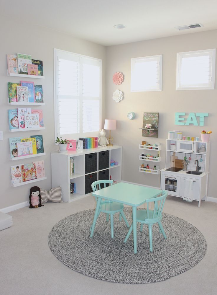 A Pretty In Pastels Playroom When I Designed Elenas Preschool Inspired Playroom I Wanted