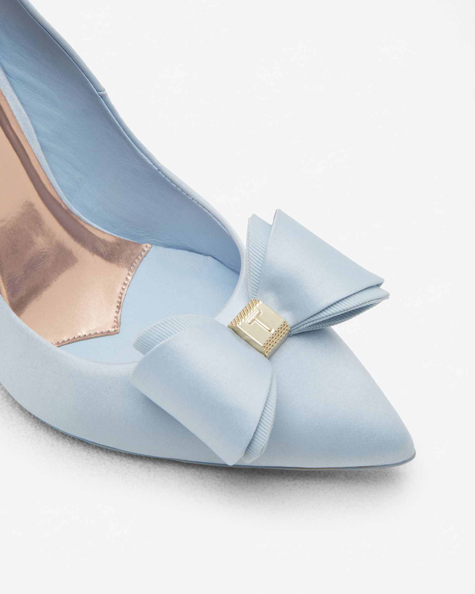 7709f2f18 WedwithTed  tedbaker Bow detail satin courts - Light Blue